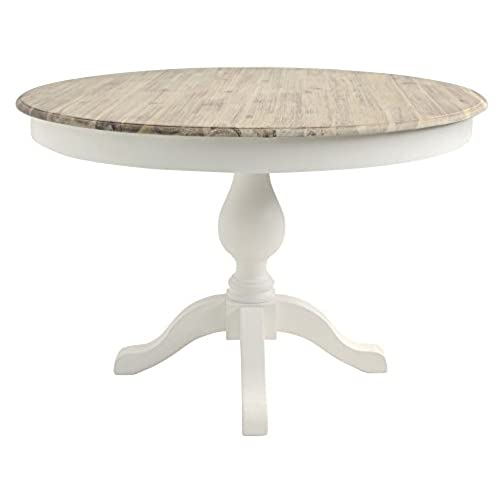 Florence Large Round Pedestal Table, Stunning Table With Thick Wooden Top  And 2 Drawers, Available In 4 Colours (white)