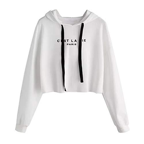 Damen Teenager Mädchen Pullover Hoodie Frauen Pulli Crop Tops MYMYG Langarm Kurz Sweatshirt Langarmshirt Oberteile Hoodie Crop Tops(Weiß,EU:36/CN-M) (Teenager Mädchen)