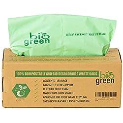Compostables Cuisine Bio Sacs Poubelle - 150 Bio Bag déchets Alimentaires Compost 6L - 8L en 13432 - Sacs Poubelle biodégradables avec Guide de Compost (6L)