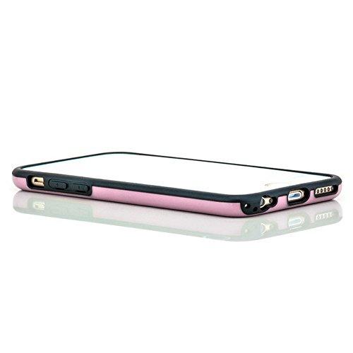 Saxonia Hülle + Displayschutzfolie Apple iPhone 6 / 6S Case Silikon Slim Cover Diamond Design Silikonhülle Rot Rosa