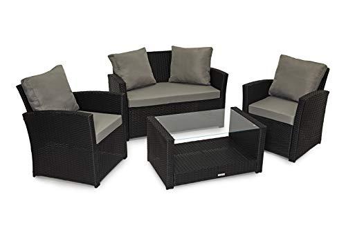 EVRE Rattan Garden Outdoor Indoor Sofa Set Furniture, Brown Black (Black)