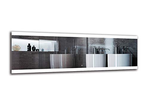 Espejo LED Deluxe - Dimensiones del Espejo 180x60 cm - Interruptor tactil - Espejo de baño con iluminación...