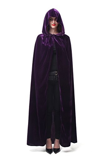 Nuoqi®Halloween Witch Vampire Hooded Cloak Cape purple (155cm, purple)