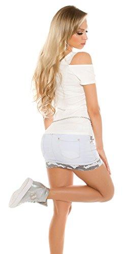 Basic Ripp Cold Shoulder- Shirt Weiß