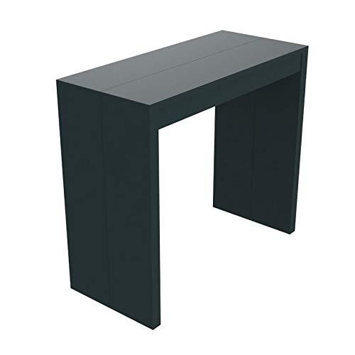 Ve.ca-italy tavolo consolle saturno - gambe spessore 4 cm - mdf laccato antigraffio - allungabile fino a 300 cm cucina, arredo cucina e casa (nero grafite)