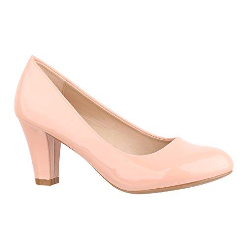 Elara Damen Pumps | Bequeme High Heels Lackoptik Trichterabsatz | Vintage-Style | Chunkyrayan 7056-P-Pink-39