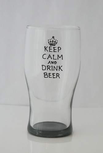 Fantaisie 'Keep Calm and Drink Beer' verre à bière peint à la main par Memories-like-these Verre à vin Inscription Royaume-Uni
