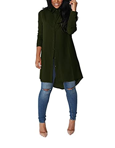 Yidarton Womens Boyfriend Style Button Down Long Tops Casual Loose Chiffon Blouse T Shirt Dress Green