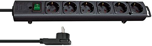 Brennenstuhl Comfort-Line Plus, Steckdosenleiste 6-fach (mit Flachstecker, Schalter, 2m Kabel und extra breite Abstände der Steckdosen) Farbe: schwarz