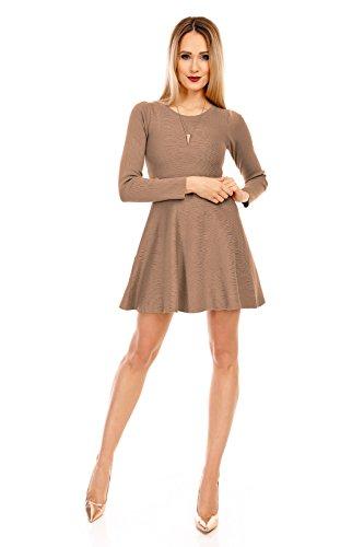 MODDY´s Damen Kleid, in Scubaoptik, kurz mit langen Ärmel und Rundhals-Ausschnitt 34-38 Braun