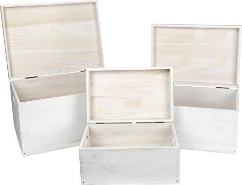 small foot Holztruhe weiß im 3er Set, als Deko-oder Aufbewahrungsmöglichkeit, Verschiedene Größen, universell einsetzbar Home, Holz, One Size