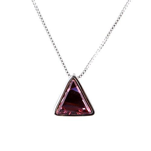 Mabox Sterling Violet Collier en Argent 925 pendentif en cristal avec le cristal autrichien pour les femmes Rose