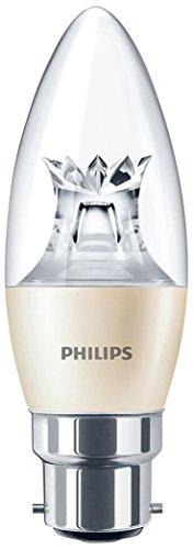 Philips 8718696525678 Ampoule LED à baïonnette B22 4 W Lumière chaude Compatible avec variateur d'intensité Ampoule bougie Blanc chaud, Verre, blanc, B22, 4 wattsW