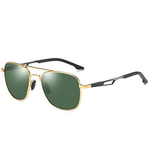 DEER HOUSE Quadratische Sonnenbrille für Herren, polarisiert, UV400, Retro, verspiegelt Gr. Einheitsgröße, Gold Green