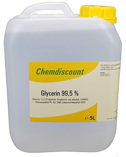 Glycerin 99,5% 5Liter (5000ml) pflanzlich entspricht Pharmaqualität USP, VERSANDKOSTENFREIi! Glyzerin vegetable VG