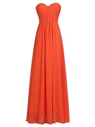 JAEDEN Femme Sans bretelles Robes de demoiselles d'honneur Longue Robe de bal Robe de f¨ºte Mousseline de soie Orange
