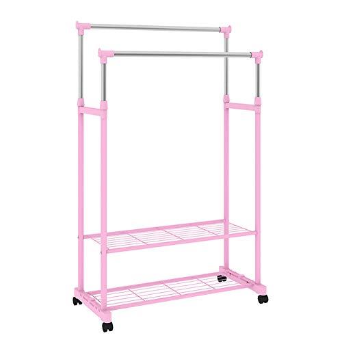 Portemanteau rétractable rack de séchage double pôle en acier inoxydable balcon de séchage avec roue universelle amovible de mode étagère rack,Pink