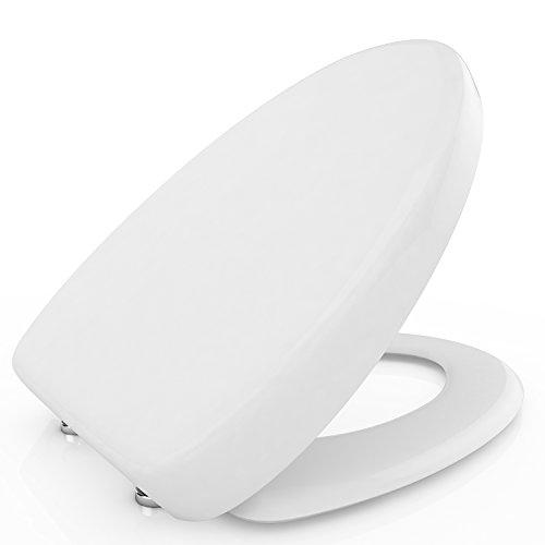 Nakey Klodeckel WC-Sitz mit Absenkautomatik U/O/V Form Toilettendeckel Soft Close WC-Sitz mit Deckel Verchromte Scharniere Toilettensitz mit Absenkautomatik Antibakteriell weiß (O)