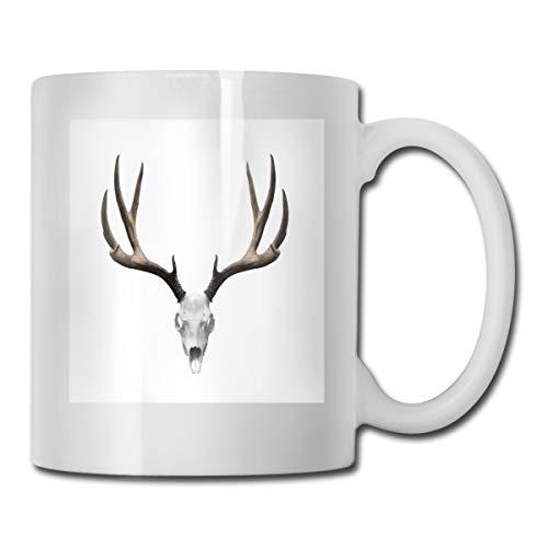 Jolly2T Funny Ceramic Novelty Coffee Mug 11oz,A Deer Skull Skeleton Head Bone Halloween Weathered Hunter Theme Motif,Unisex Who Tea Mugs Coffee Cups,Suitable for Office and Home