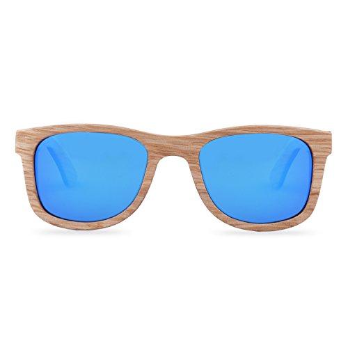 Holz Sonnenbrille   The Woodpecker   Wayfarer Blau