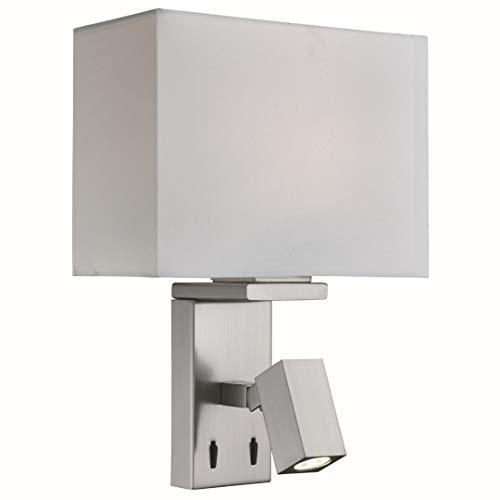 LED Wandleuchte in Edelstahl Silber Bauhausstil 2xE27 bis zu 40 Watt 230V aus Stoff & Schlafzimmer...
