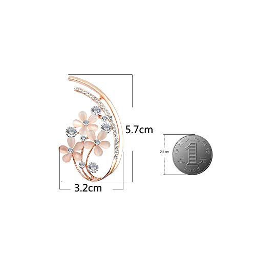 YouBella Jewellery Latest Crystal Unisex Floral Brooch for Women/Girls/Men (Silver)