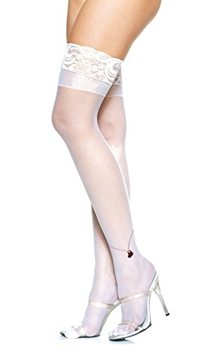 Leg Avenue Lycra Sheer (Lycra Sheer Lace Top Thigh High with Foil Heart Anklet Charm-Feinstrümpfe mit rotem Metallic-Herzchen am Knöchel und Spitzensaum von LegAvenue)