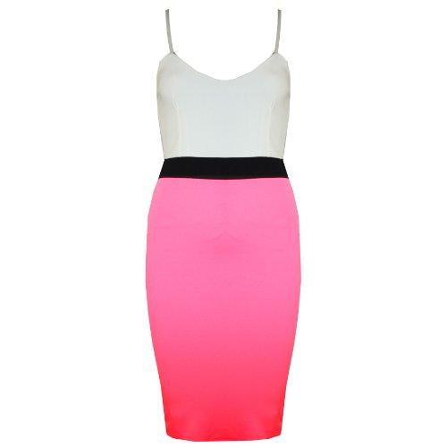 Damen Midi Kleid Rock Bleistift Rock Enganliegend Kleid Kontrast Paneele Trägertop Rosa