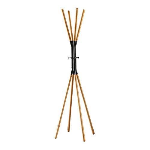 Appendiabiti da terra in legno massello appendiabiti da terra in ferro battuto in stile europeo semplice ( colore : nero )
