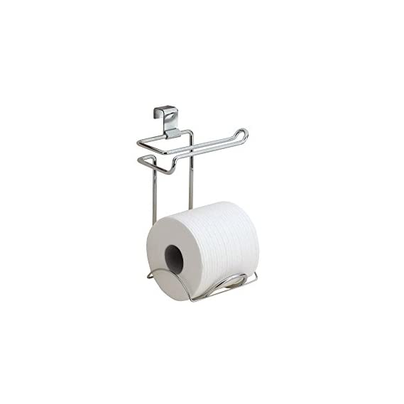 InterDesign Classico Over The Tank Metal Toilet Paper Holder - Double Roll Storage for Bathroom, Washroom Toilet Tissue Paper Roll - Chrome