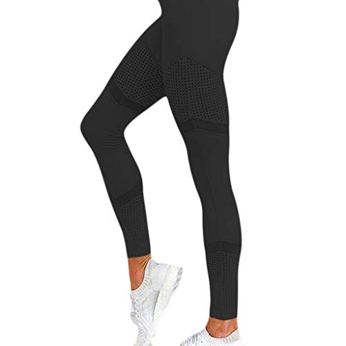Lazzboy Leggins Solide Hohe Taille Leggings Frauen Herz Training Yoga Hosen Mesh Leder (M,Schwarz) (Brautkleid Herz Cut Out)