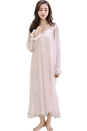 Nachthemd Lang Langzarm Wunderschönes Spitze Schiere Vierkant Nachtwäsche Vintage Schlafkleid