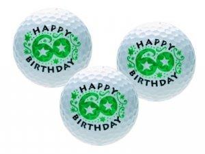 Golfballset HAPPY 60er, Golfball und Golfbälle, Golfgeschenk zum Geburtstag Jubiläum Golf Gift