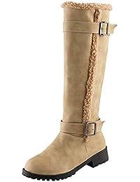 LILICAT❋ Botas de tacón bajo con Hebilla de cinturón Botas Botas Altas para la Nieve