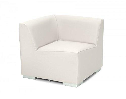 SuenosZzz-Especialistasdeldescanso. SuenosZzz-Sofa exterior modular Benahavis rinconera color blanco tapizado en polipiel Silva. Chill Out jardin o recepcion.
