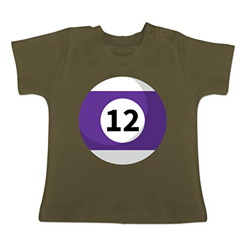 Karneval und Fasching Baby - Billardkugel 12 Kostüm - 1-3 Monate - Olivgrün - BZ02 - Baby T-Shirt Kurzarm