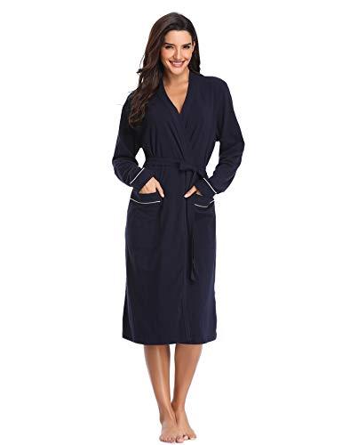 Lusofie Morgenmantel Damen Bademantel Baumwolle Lange Ärmel Spa Robe V-Ausschnitt Saunamantel mit Gürtel (Navy blau, XL)