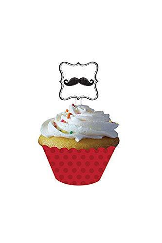 Unbekannt Creative Converting Mustache Madness 12Zählen Cupcake Wrappers mit Picks (Schnurrbart Teller Servietten Und)