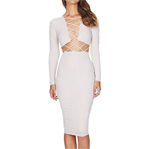 QIYUN.Z Femmes Robes Crayon Bandage A Lacets Manches Longues Cocktail Moulante Croisee Sexy Blanc