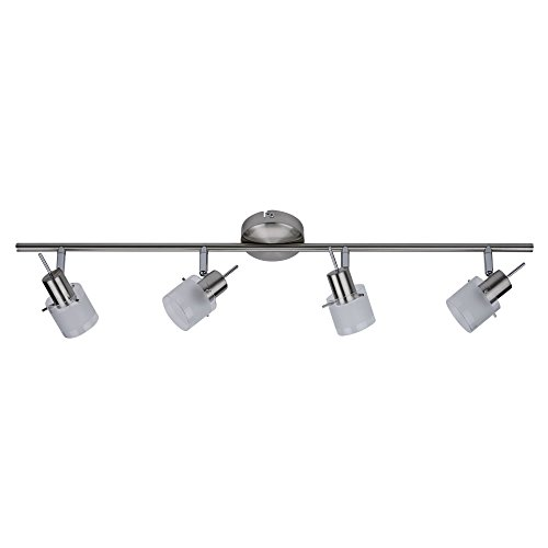 Led ceiling light bar amazon biard vermont 4 way adjustable spotlight bar ceiling light fitting gu10 satin nickel glass led compatible bedroom living or dining room mozeypictures Image collections