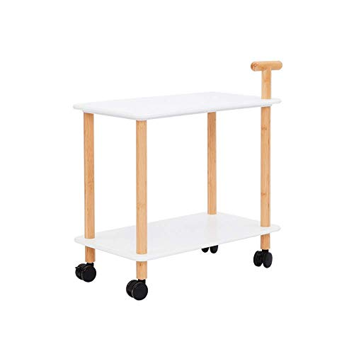 YueQiSong Modern Minimalist Parlour Sofa Side Table/Desk Wooden Coffee Table it Can Move with Brake Multifunction Double Shelf Sofa Bedroom Parlour Side Table - Open Desk Lock