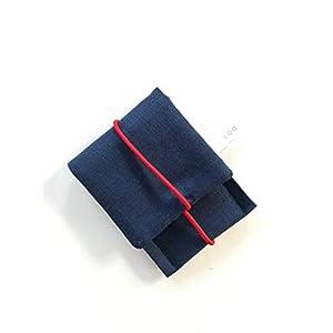 Schlichtes kleines Etui mit Gummiband/Portemonnaie/ Kopfhörertasche/Visitenkarten Tasche/Geldbörse/ Wallet/Mehrzweck Mini Tasche/Kleines Geschenk. Blau 2 Varianten