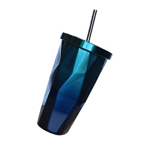 Großer Becher Eiskaffee (FITYLE Edelstahlbecher doppelwandig Tasse Becher Smoothie Saft Kaffee Eiskaffee Becher mit Deckel Strohhalm - Blau)