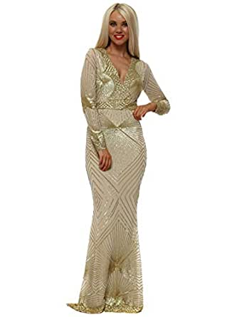 85926bf7ce Image Unavailable. Image not available for. Colour  Goddess London Stephanie  Pratt Starburst Gold Sequin Maxi Dress ...