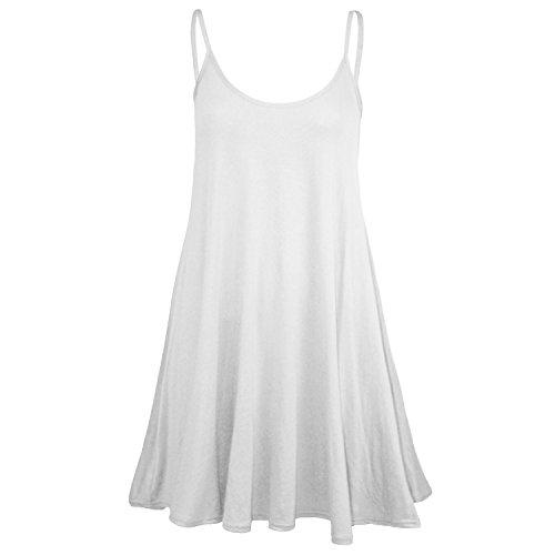 Fast Fashion Damen Kleid Schaukel Riemchen Plain Ärmellose Weiß