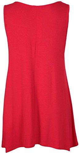 Femmes Sans Manches Femme Extensible froncé Col Rond Uneven Ourlet Gilet Long T-Shirt Top Rouge