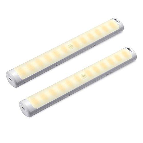 InLife Armario LED, 2 Piezas, 12 LED de luz, con Sensor de Movimiento, USB Recargable, 4 Ganchos Desmontables de Ropa, Ideal para Cocina, Armario, Pasillo, Bed Light, Luz Blanca Cálida