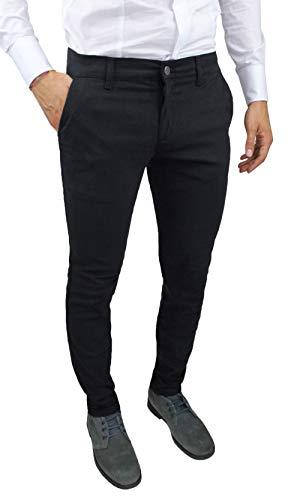 Pantaloni uomo sartoriali slim fit casual eleganti invernali (42, nero)