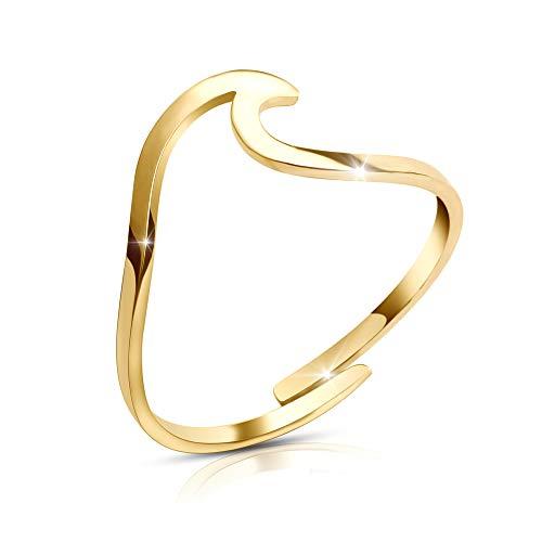 Good.Designs ® Wave Damen Ring in vergoldetem Edelstahl (verstellbar) Ring mit Welle in goldfarben Goldener Ring ringold golden goldenerring goldschmuck damenring damenschmuck