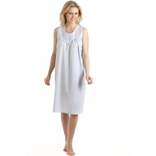Camille - Chemise de nuit sans manches - broderies - femme - bleu Bleu